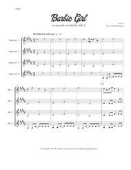 "Aqua  Sheet Music ""Barbie Girl"" for Horn Quartet Song Lyrics Guitar Tabs Piano Music Notes Songbook"