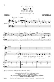 Tom Higgenson  Sheet Music 1, 2, 3, 4 Song Lyrics Guitar Tabs Piano Music Notes Songbook