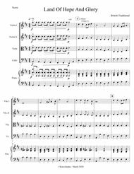 """Edward Elgar  Sheet Music """"Land of Hope and Glory"""" arr. for piano and string quartet (score and parts) Song Lyrics Guitar Tabs Piano Music Notes Songbook"""