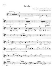 "Billie Eilish Feat. Khalid  Sheet Music ""Lovely"" by Billie Eilish & Khalid (Violin Solo) Song Lyrics Guitar Tabs Piano Music Notes Songbook"