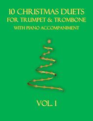 Various  Sheet Music 10 Christmas Duets for Trumpet and Trombone with piano accompaniment vol. 1 Song Lyrics Guitar Tabs Piano Music Notes Songbook