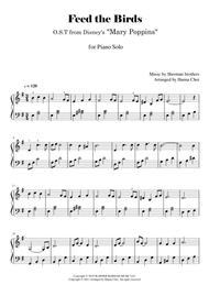 """Robert & Richard Sherman  Sheet Music """"Feed the Birds"""" from Mary Poppins [for Piano Solo- Easy] Song Lyrics Guitar Tabs Piano Music Notes Songbook"""