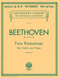 Ludwig van Beethoven  Sheet Music 2 Romanze, Op. 40 and 50 Song Lyrics Guitar Tabs Piano Music Notes Songbook