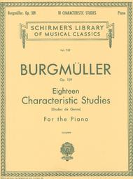 Johann Friedrich Burgmuller  Sheet Music 18 Characteristic Studies, Op. 109 Song Lyrics Guitar Tabs Piano Music Notes Songbook