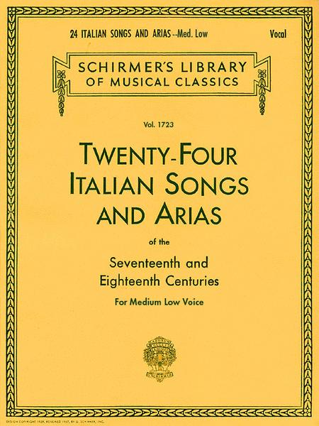 Sheet Music 24 Italian Songs And Arias Of The 17th And 18th Centuries Medium Low Voice Book Only Medium Voice Piano