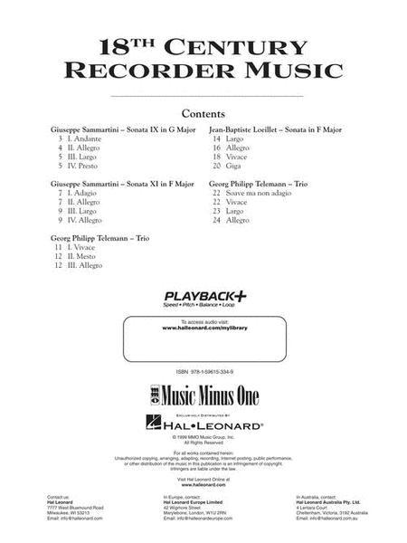 Eighteenth Century Recorder Music (2 CD SET) sheet music