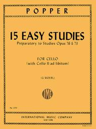 David Popper  Sheet Music 15 Easy Studies (1st position) Song Lyrics Guitar Tabs Piano Music Notes Songbook
