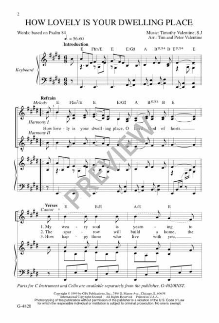 Sheet music: How Lovely Is Your Dwelling Place