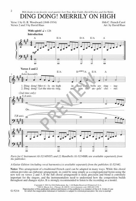 ding dong merrily on high sheet music pdf