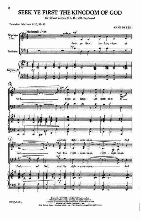 Sheet Music Seek Ye First The Kingdom Of God
