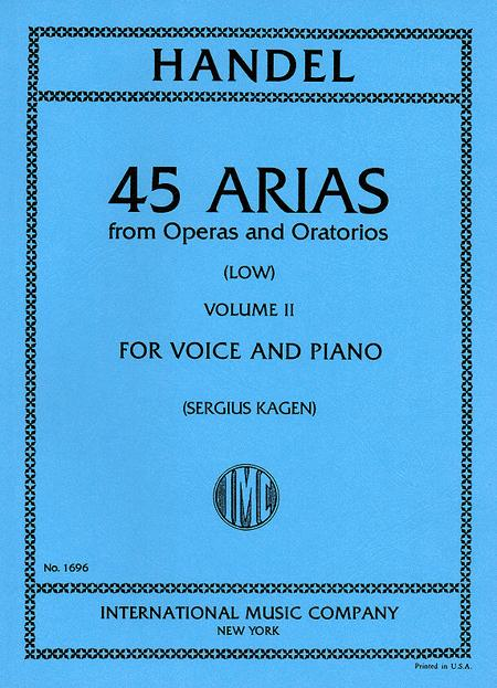1 low 45 Arias from Operas and Oratorios Handel  score Vol also performan