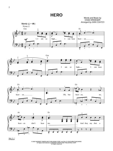 Sheet music: Nickelback: Hero - Easy Piano (Piano, Voice)