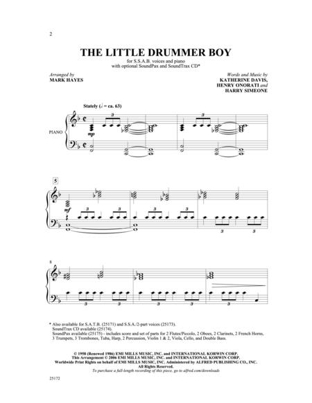 Sheet Music The Little Drummer Boy Choral Ssab Piano