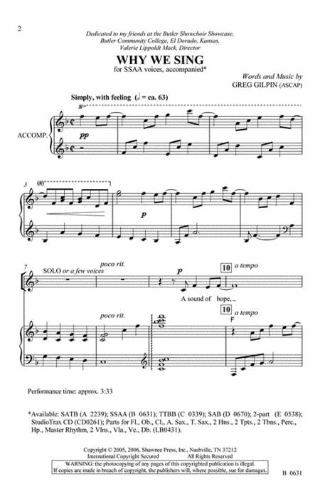 Why We Sing SSAA sheet music