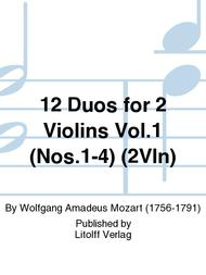 Wolfgang Amadeus Mozart  Sheet Music 12 Duos for 2 Violins Vol. 1 (Nos. 1-4) Song Lyrics Guitar Tabs Piano Music Notes Songbook