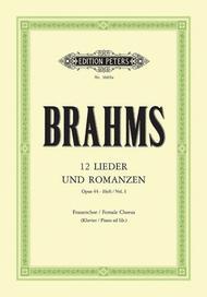 Johannes Brahms  Sheet Music 12 Lieder und Romanzen Op. 44 Vol. 1 Song Lyrics Guitar Tabs Piano Music Notes Songbook