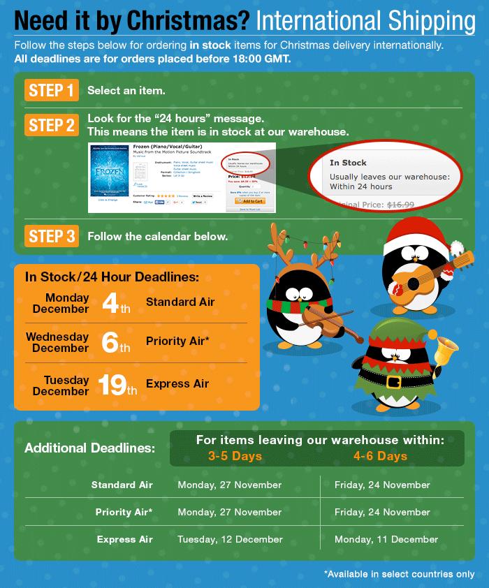 Christmas Deadlines - International