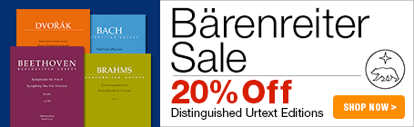 Bärenreiter Sale - 20% off fine urtext editions for choir, piano, and more!