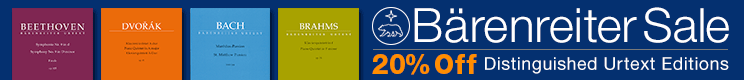 Bärenreiter Verlag Sale - 20% off fine urtext editions for choir, piano, and more!