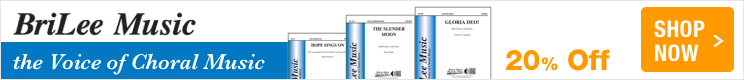 BriLee Music Sale - 20% off educational choral sheet music!