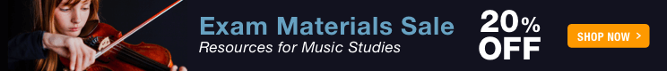 Exam Materials Sale - 20% off resources for music studies and assessment!