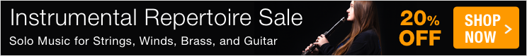 Instrumental Repertoire Sale - save 20% on solo music for winds, strings, brass, guitar, and percussion!