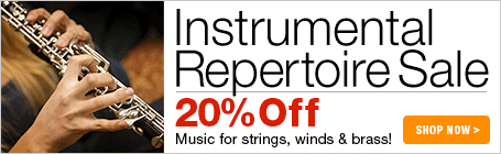 Instrumental Repertoire Sale - 20% off solo music for woodwinds, strings, brass and guitar!