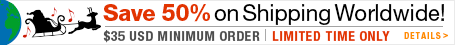 10% off $35 USD or 15% off $100 USD + 50% Off Shipping!