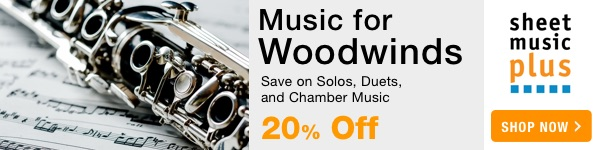 20% Off Music for Woodwinds on Sheet Music Plus