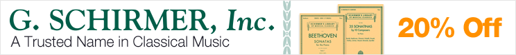 G. Schirmer Music Sale - save 20% on internationally renowed musical classics