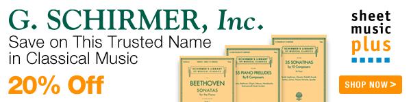 20% Off of G. Schirmer on Sheet Music Plus