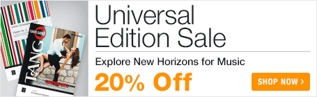 Universal Edition Sale - save 20% on modern and contemporary classical sheet music!