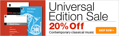 Universal Edition Sale - 20% off contemporary classical sheet music!