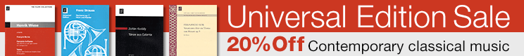 Universal Edition Sale - 20% Off contemporary classical music!