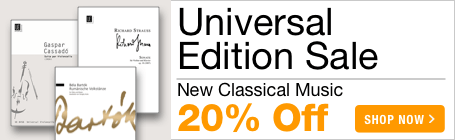 Universal Edition Sale - 20% off modern and contemporary classical sheet music!